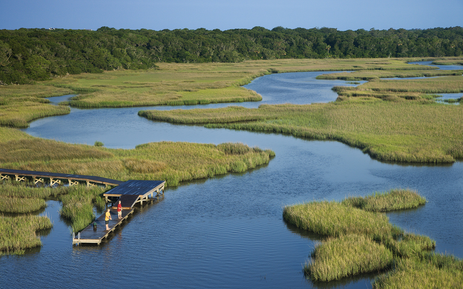 Aerial view of wetlands, with two people standing on a dock and trees in the background.