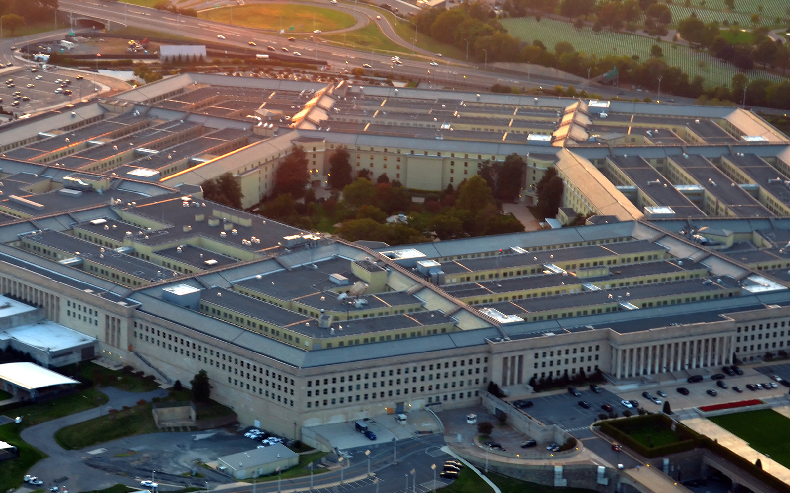 Aerial view of  Pentagon building in the light of the setting sun