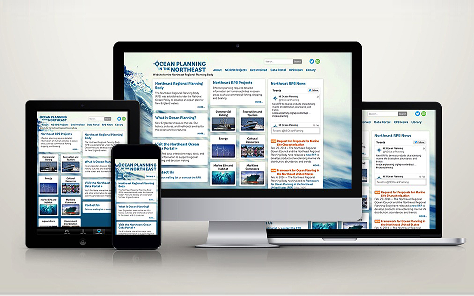 "Homepage of the Northeast Regional Ocean Council's ""Ocean Planning in the Northeast"" website, as shown on a tablet, mobile phone, desktop, and laptop computer"