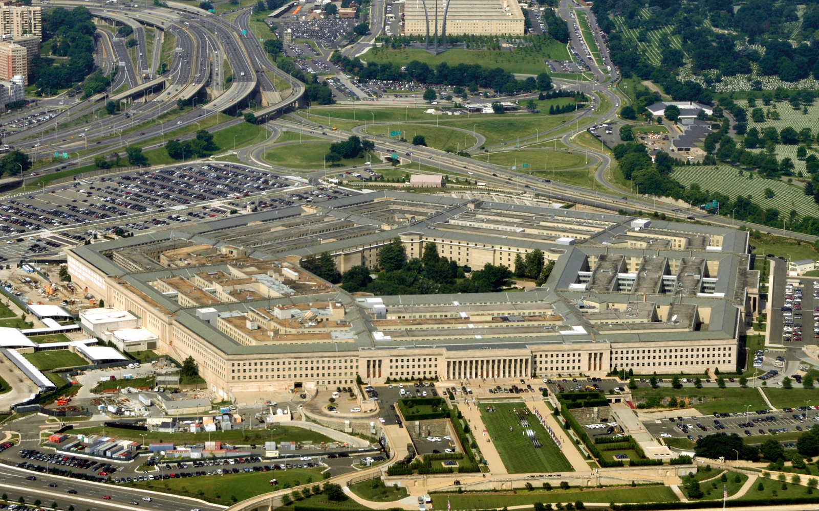 Aerial view of Pentagon building