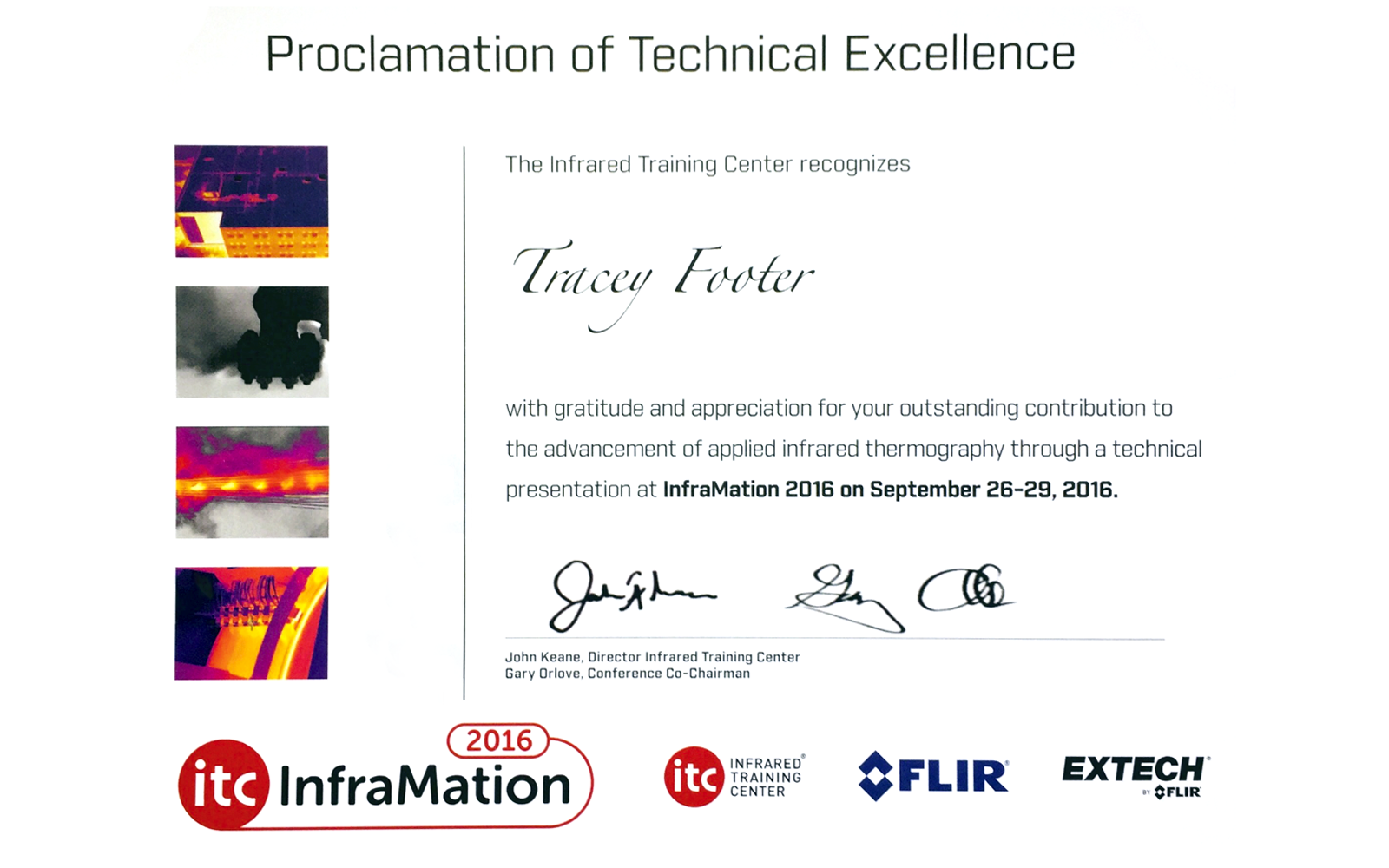 Tracey Footer Certificate