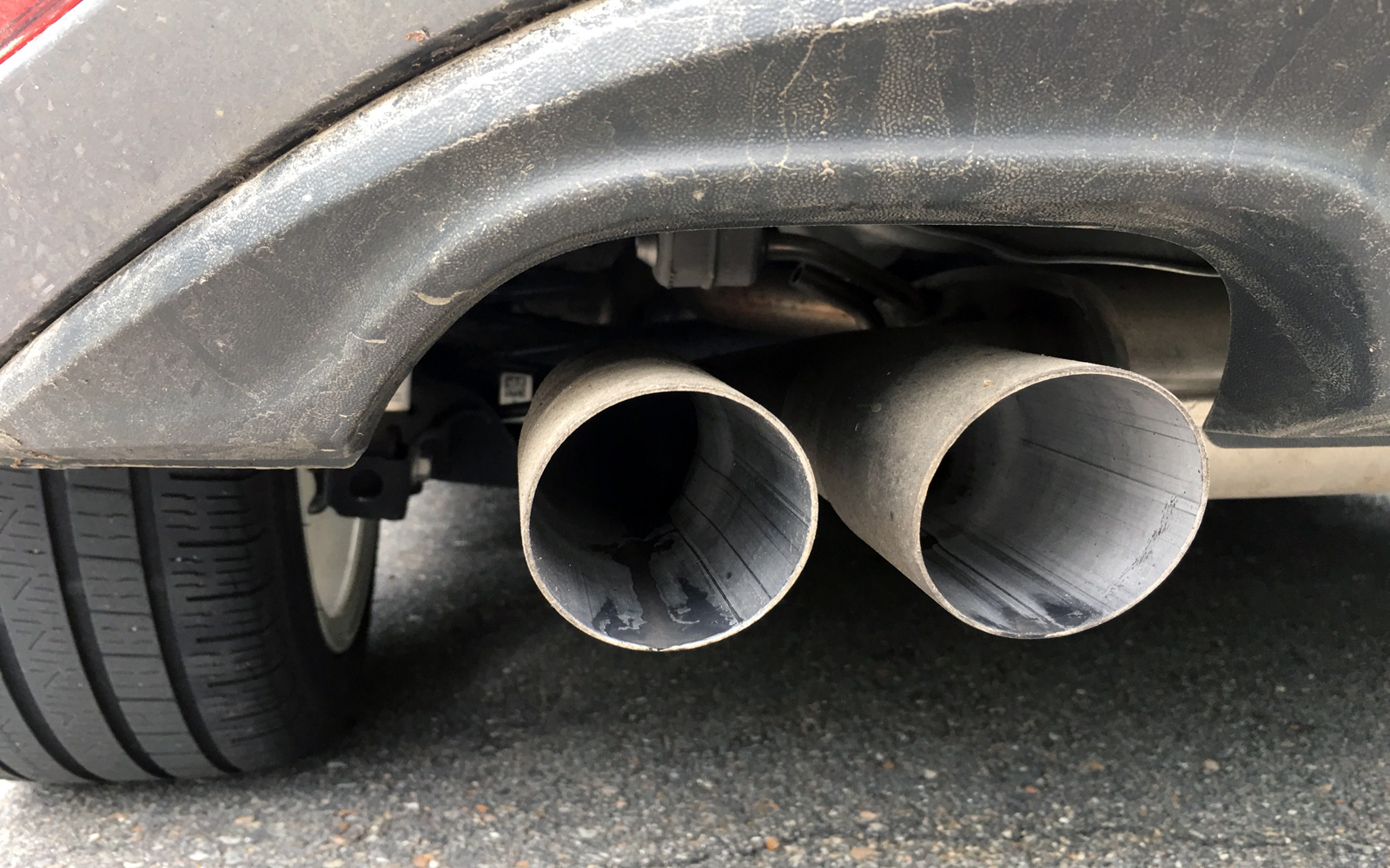 Tailpipe of a VW car
