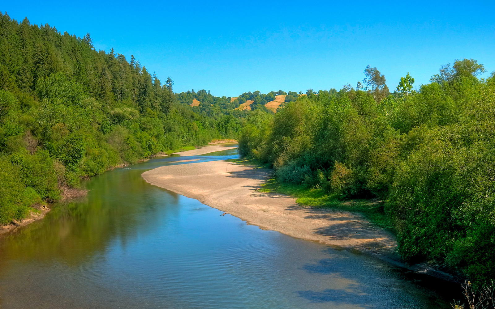 California's Russian River on a sunny day