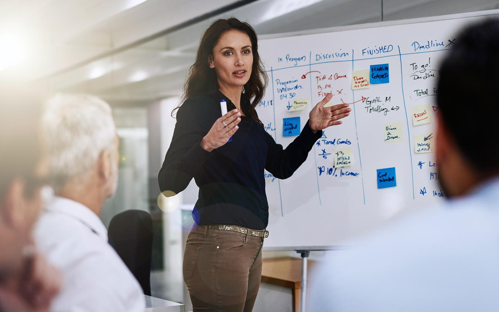 Woman facilitating a meeting, with a whiteboard in the background