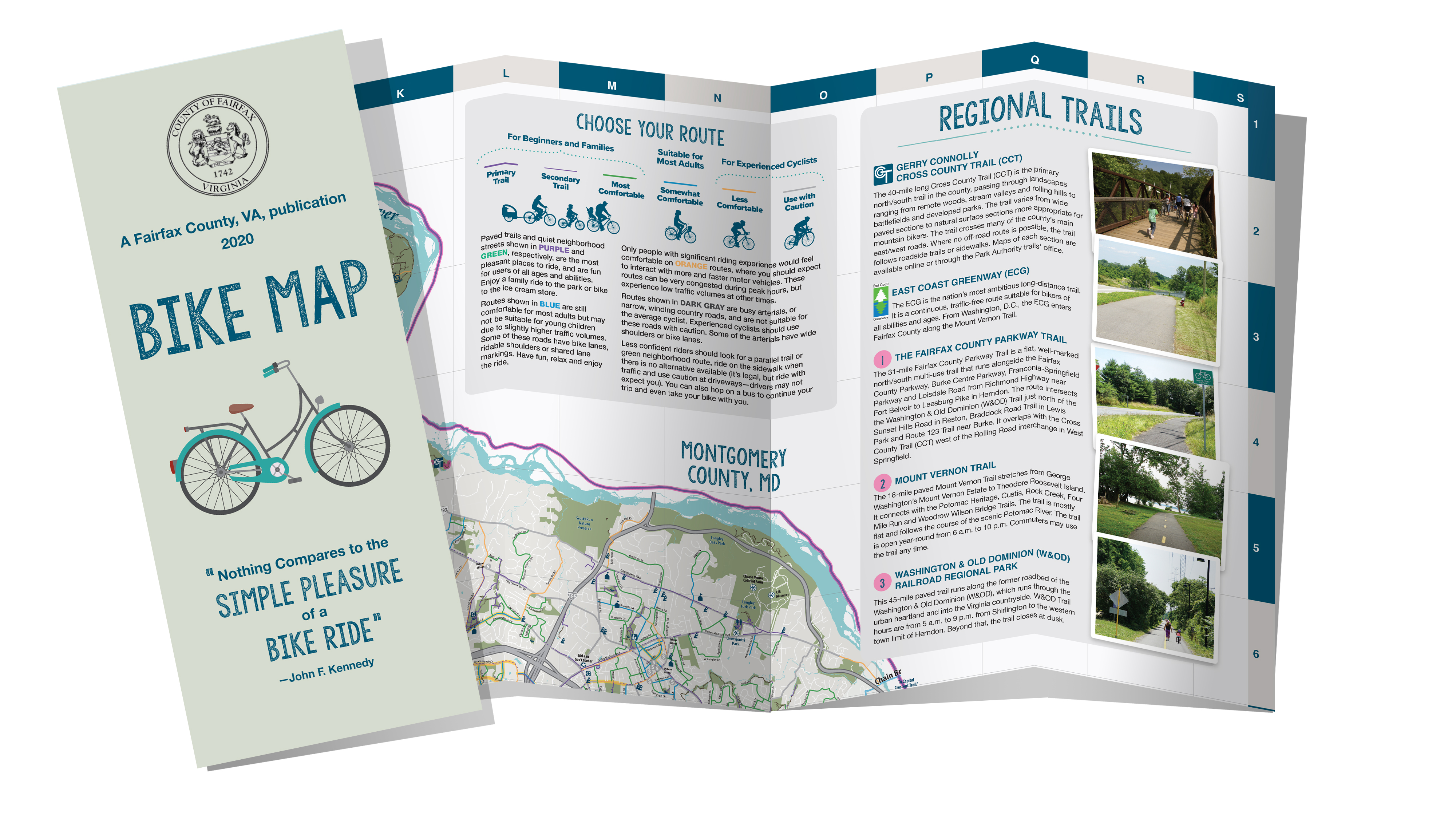 Cover and interior pages of Fairfax County bike map