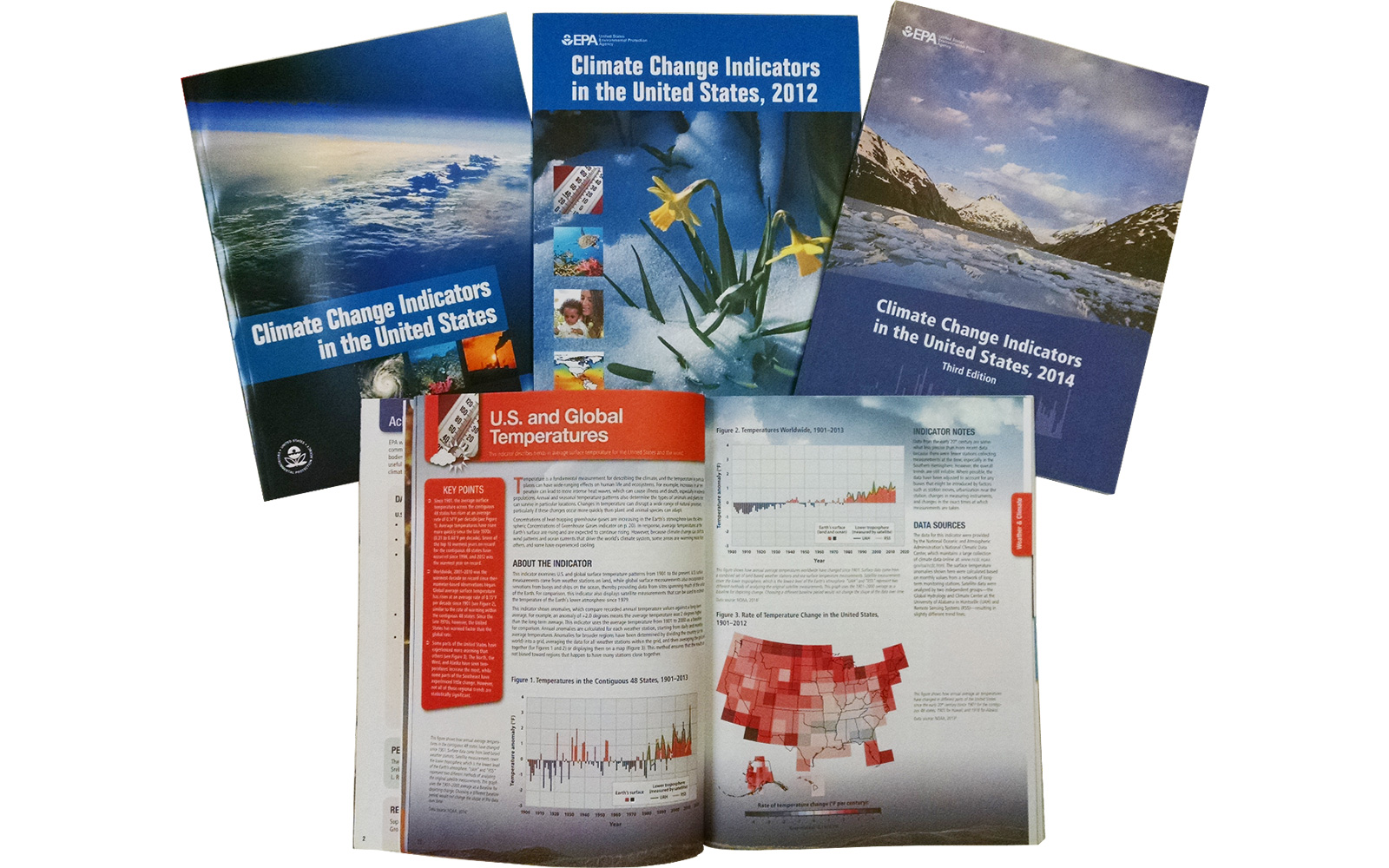 "Covers and/or pages from several EPA ""Climate Change Indicators in the United States"" publications"