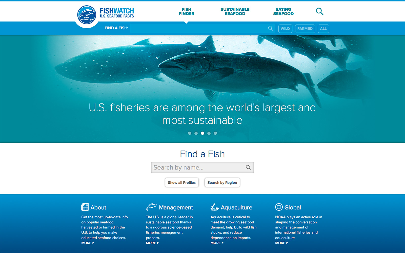 Screenshot of NOAA's FishWatch website homepage
