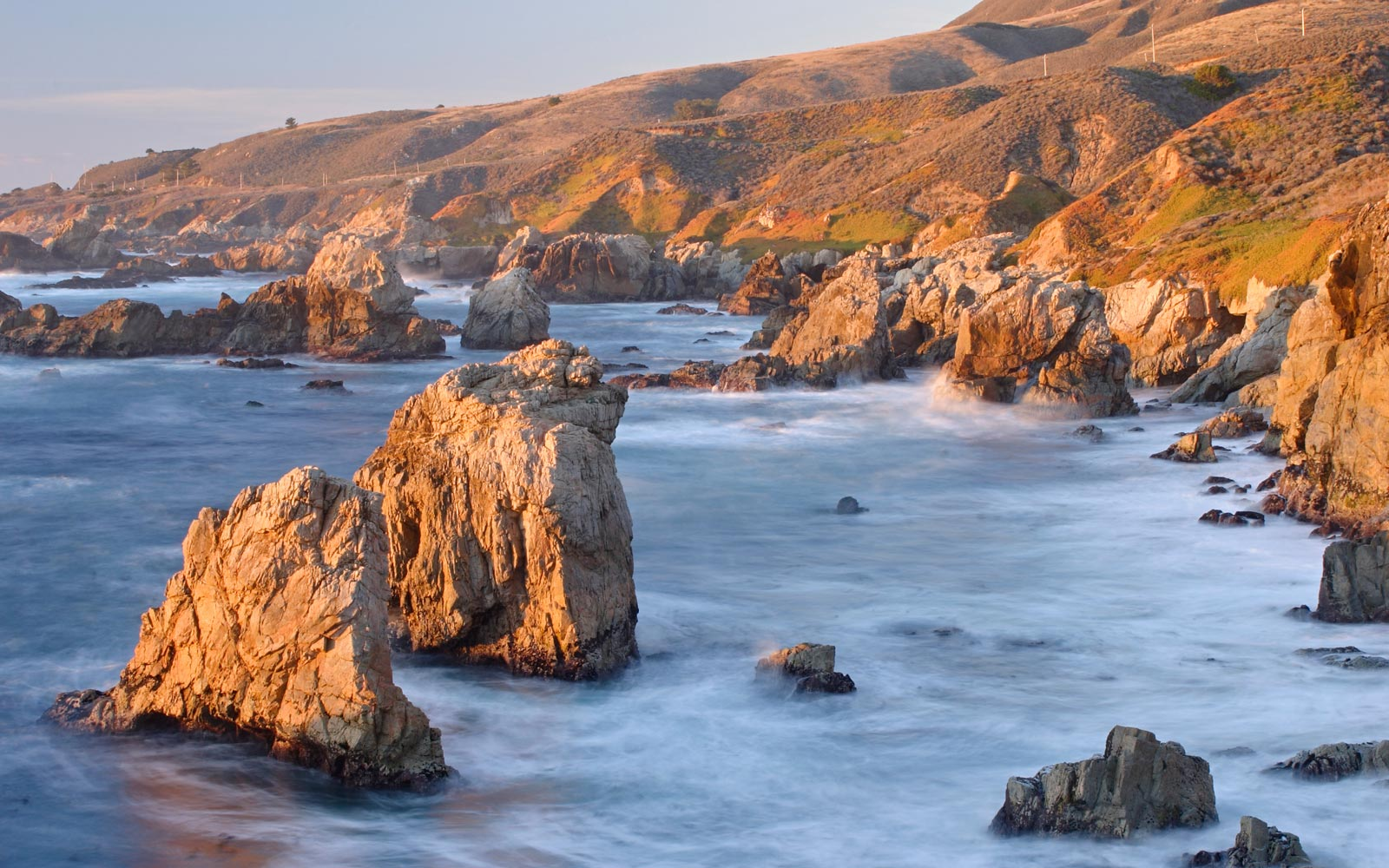 Aerial view of rocky California coastline