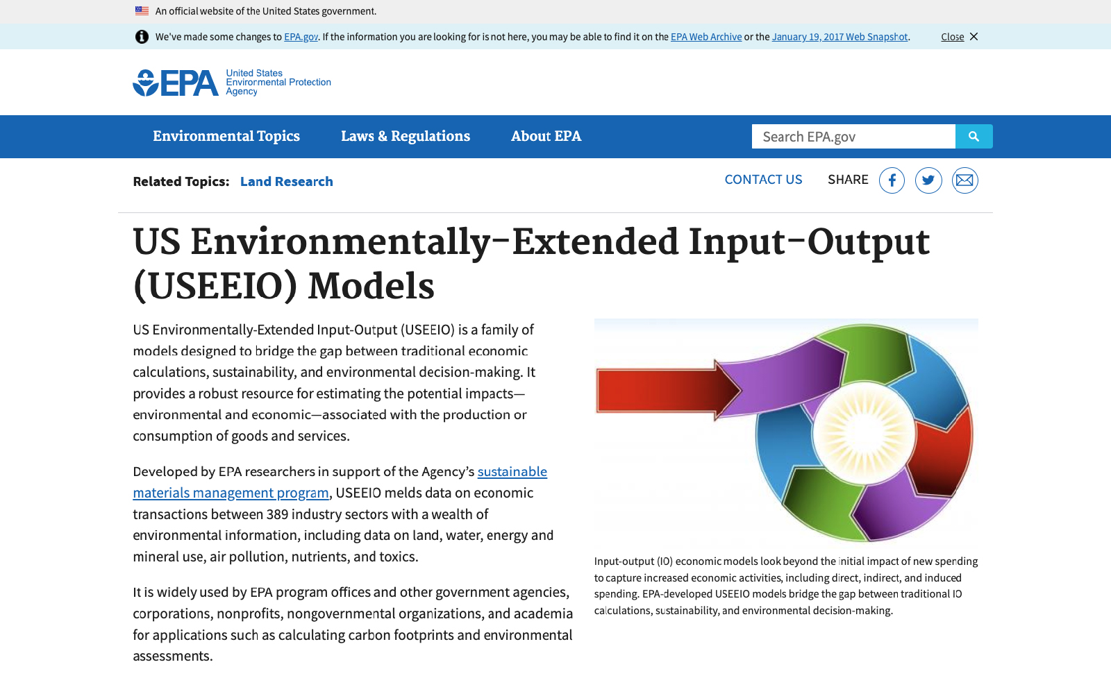 Screen capture of EPA's USEEIO models webpage