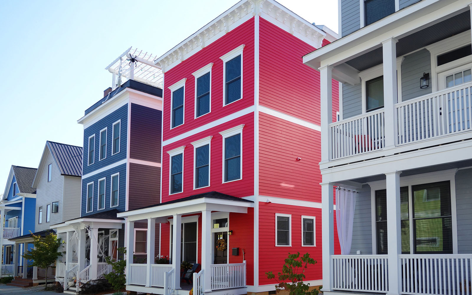 Photo showing colorful new homes in Raleigh, North Carolina