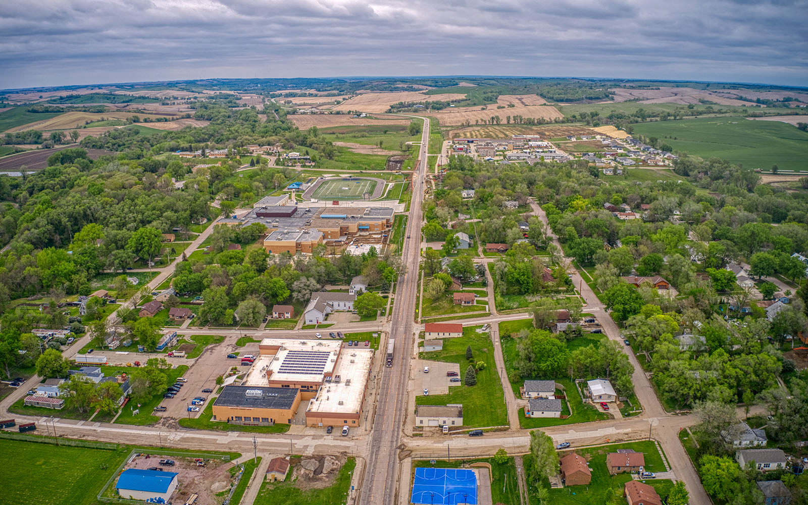 Aerial photo of Winnebago, Nebraska, home to the tribal council offices of the Winnebago Tribe of Nebraska