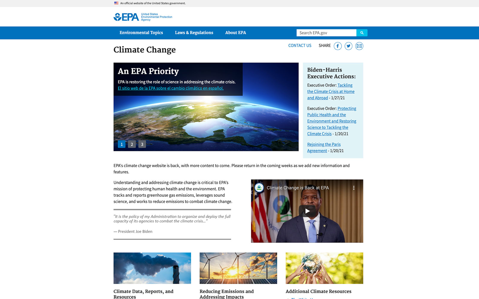 Screen shot of EPA's Climate Change website main page