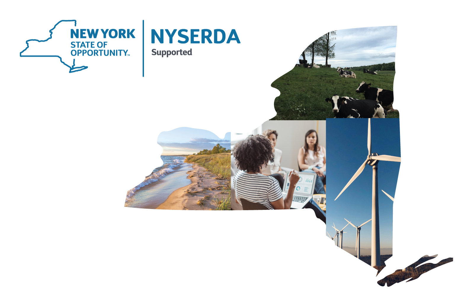NYSERDA logo and collage of climate-related images in shape of New York State