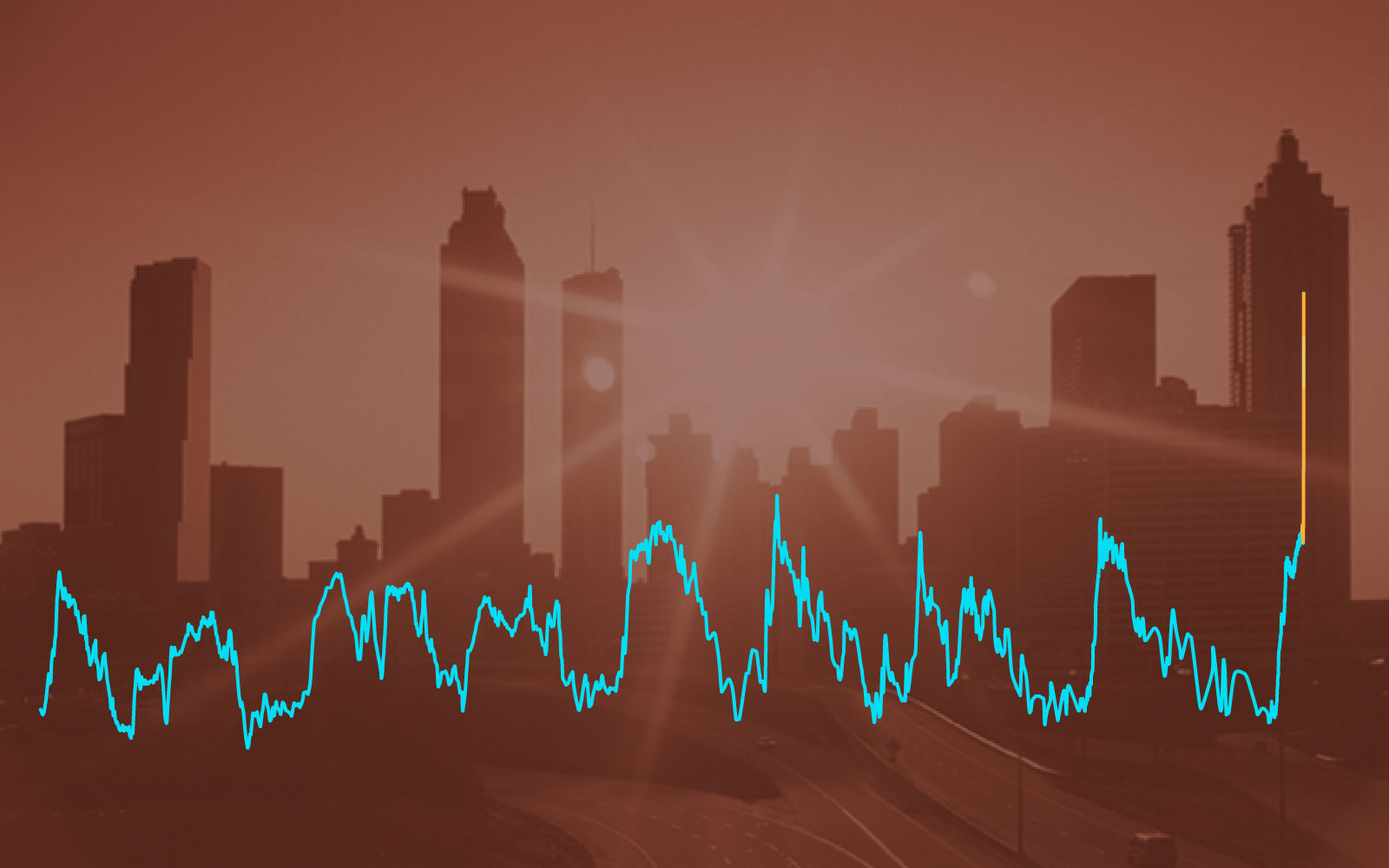 A hazy city skyline with a line chart superimposed on top.